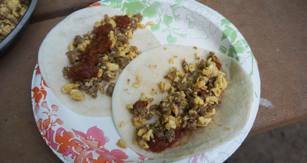 Chorizo and Scrambled Egg Tacos A Delicious Camping Breakfast - 50 ...