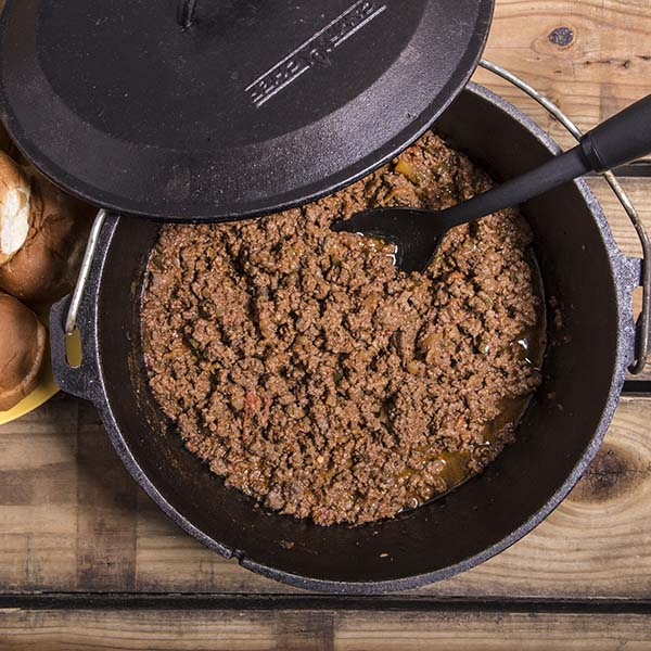 This is a delicious Dutch oven sloppy joe recipe that can be made on most any heat source. Just brown the meat and veg, add the other ingredients and simmer for about an hour. DELICIOUS!
