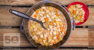Dutch oven chicken and cashews with delicious chunks of pineapple served over steaming white rice.
