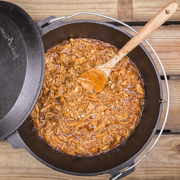 What's camping without BBQ? Try these Dutch Oven Pulled BBQ Chicken Sandwiches