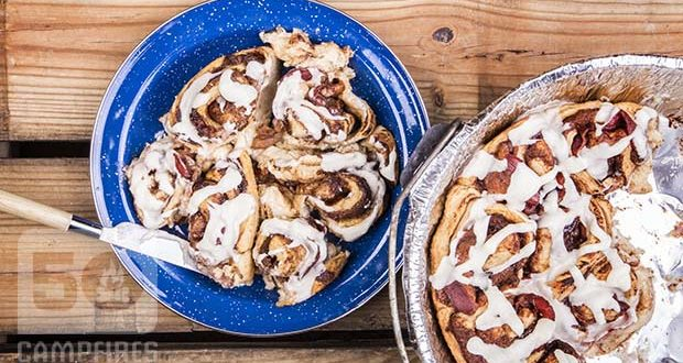 Bacon Wrapped Cinnamon Rolls in a Dutch oven