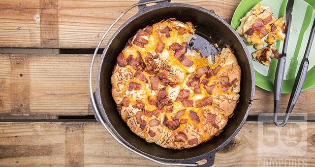 Bacon Cheese Pull Aparts in the Dutch Oven are tasty and easy ... the part that takes along time is waiting for the dough to rise.