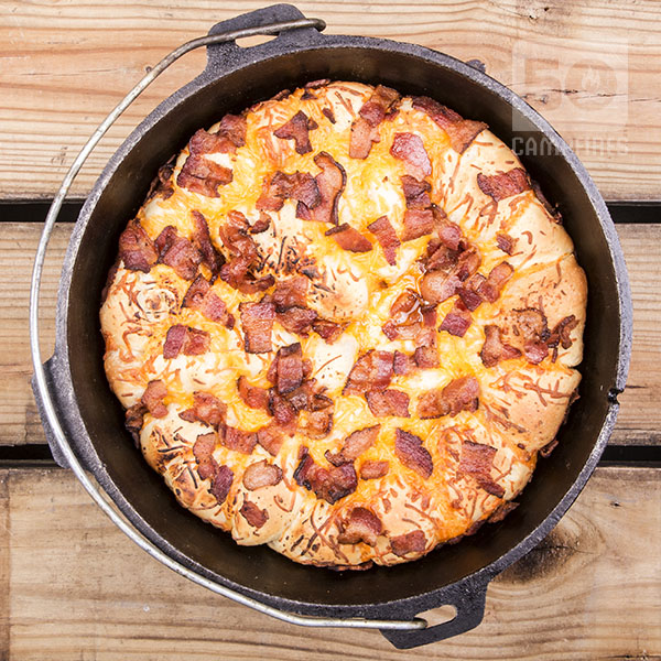 These Bacon Cheese pull aparts in the Dutch Oven are easy to make, they just take time to allow them to rise.