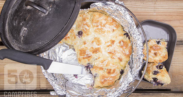 Dutch Oven Lemon Blueberry Biscuits still warm in the Dutch Oven make a fantastic breakfast accompaniment.