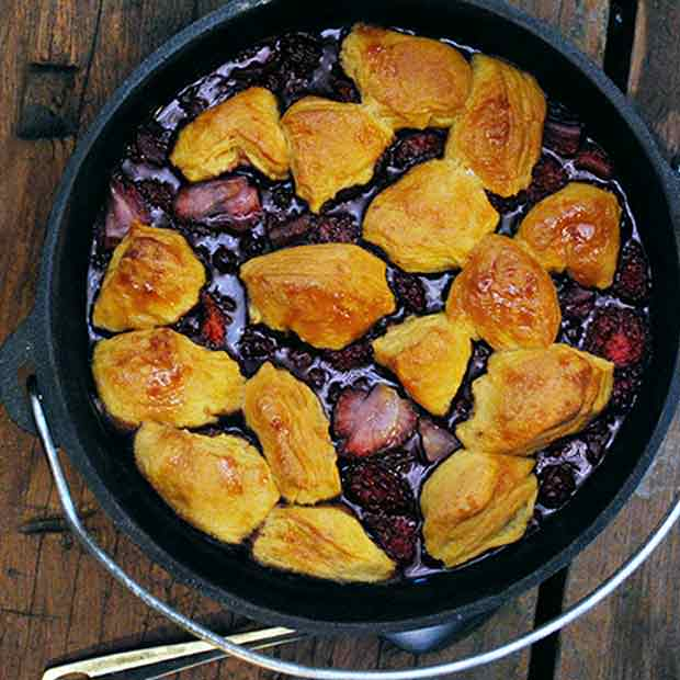 45 Easy Camping Recipes: Dutch Oven Peach And Berry Cobbler Recipe