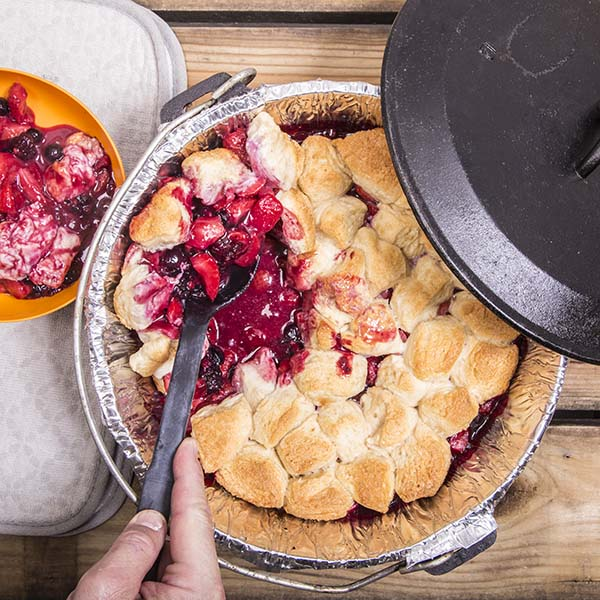 This cobbler is easy at the campsite because it uses refrigerated biscuit dough.