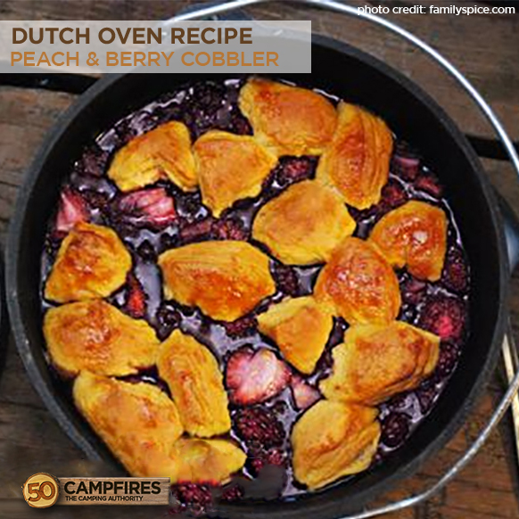 Lodge dutch oven recipe camping peach cobbler jenny ruhl for Healthy dutch oven camping recipes