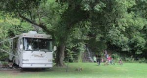 Camping at Spook Cave and Campground in Iowa