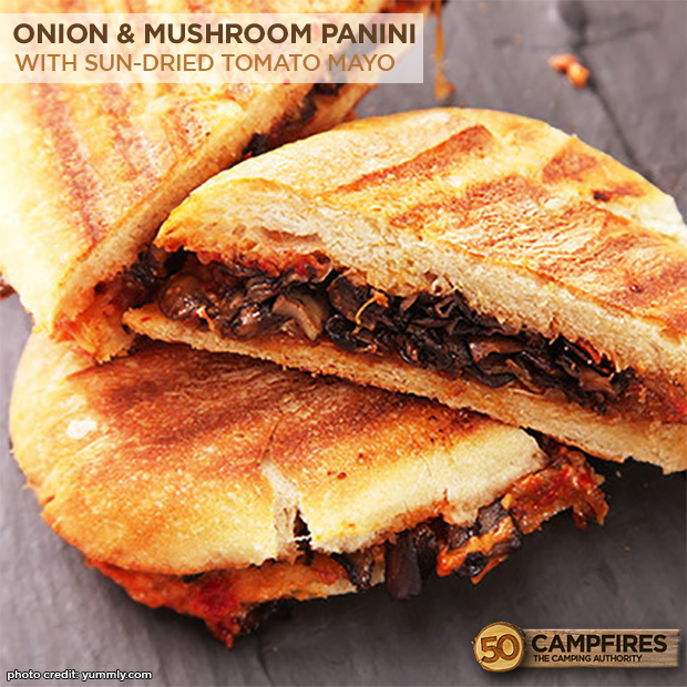 Caramelized Onion and Mushroom Panini with Sun-Dried Tomato Mayonnaise