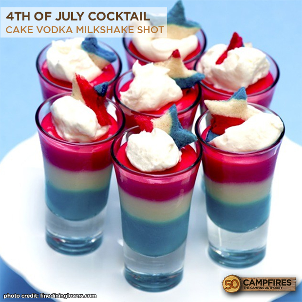 4th Of July Shots Cake Vodka Milkshake Shot 50 Campfires