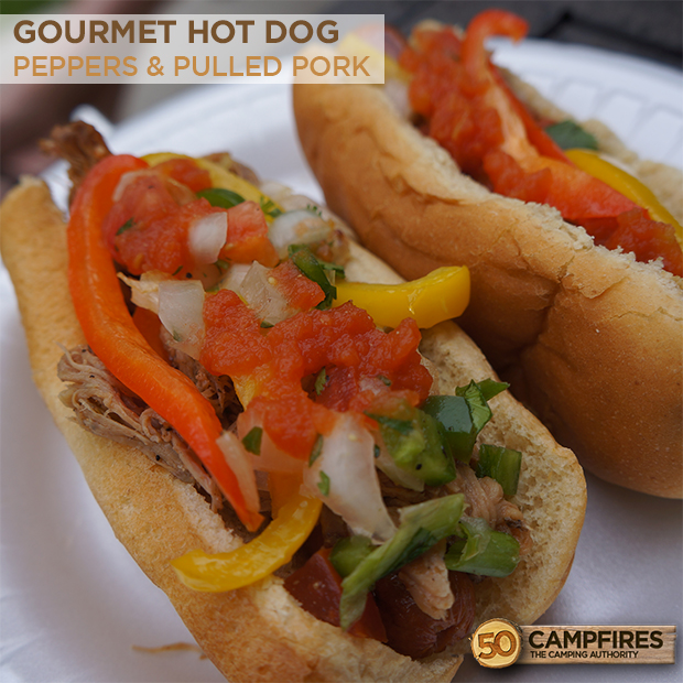 Grilled Peppers And Pulled Pork Hot Dog