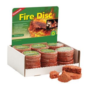 Coghlan's Fire Discs are an ideal fuel source for starting campfires or wood stoves.