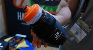 orange mud hand held water bottle