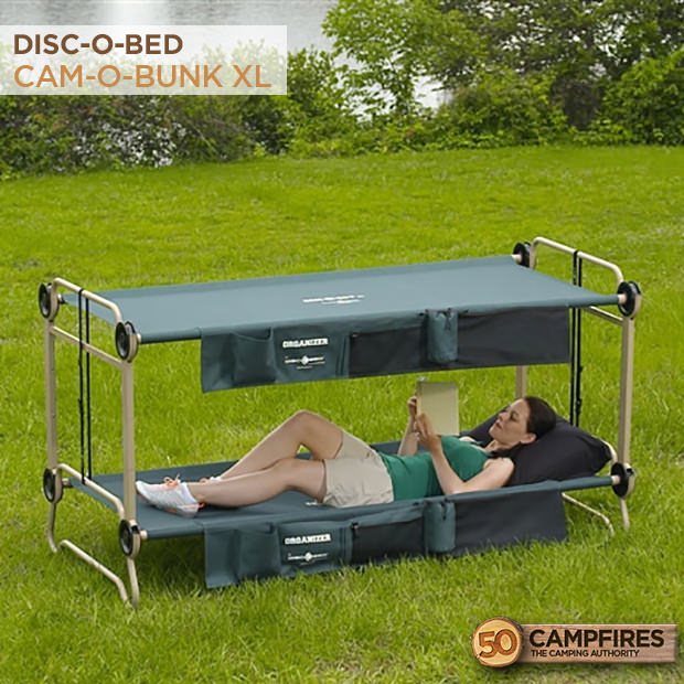 Best Camping Bunk Bed Cots - Large Disc-O-Bed Cam-O-Bunk Cot with 2 Organizers