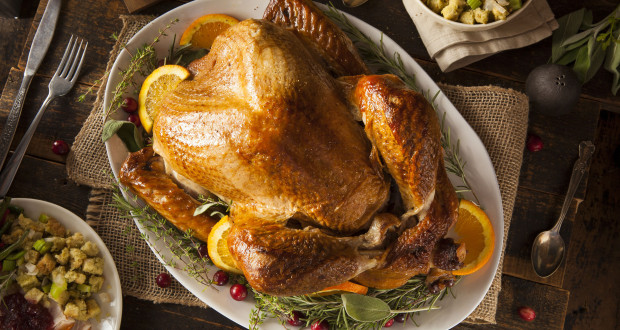Whole Homemade Thanksgiving Turkey with Sides