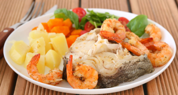 boiled fish with shrimps and potato