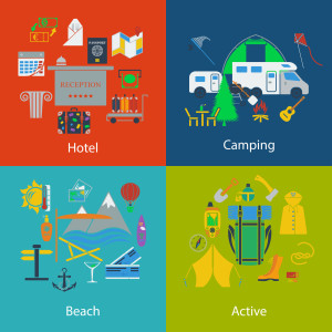 Set of Travel, camping and active designs.