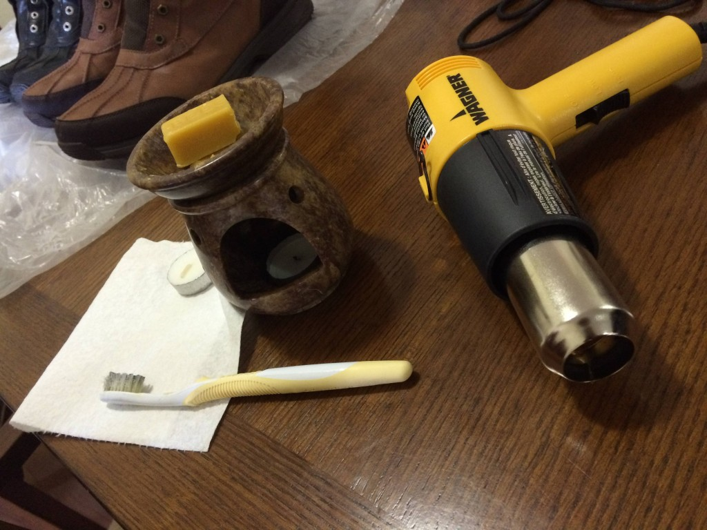 To get started, you'll need leather (not suede) boots, beeswax, something to melt it in, an old toothbrush, and a heat gun (or something else that gets hot, I've seen candles, blowtorches, and blowdryers used.)