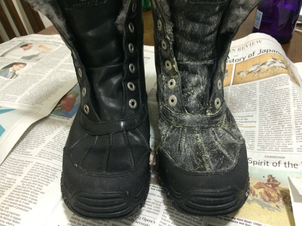 Here's the same process on black boots. As you can probably guess, this leather isn't going to change colors.
