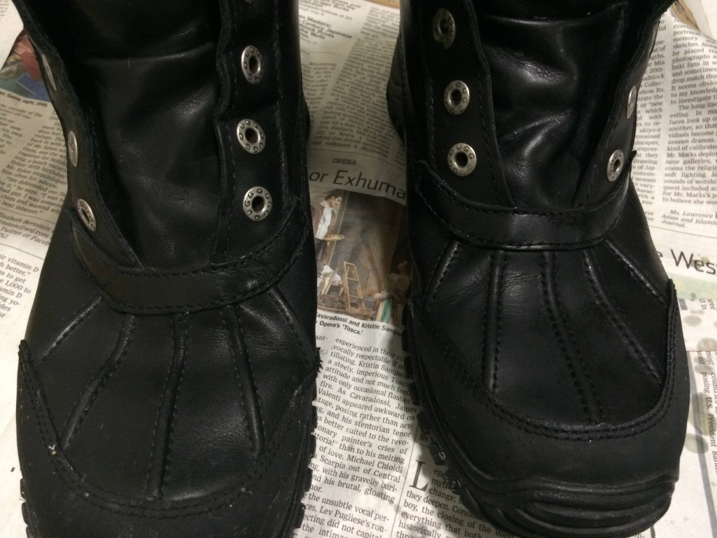Here, the right boot is all done, and I haven't started the left yet.