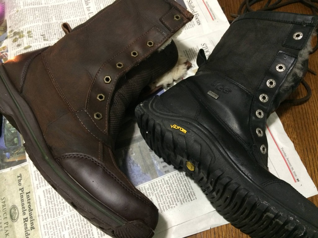Comparing the finished black and brown boots. The wax makes them a little shiny, but it's still supple and doesn't cake up with wear.