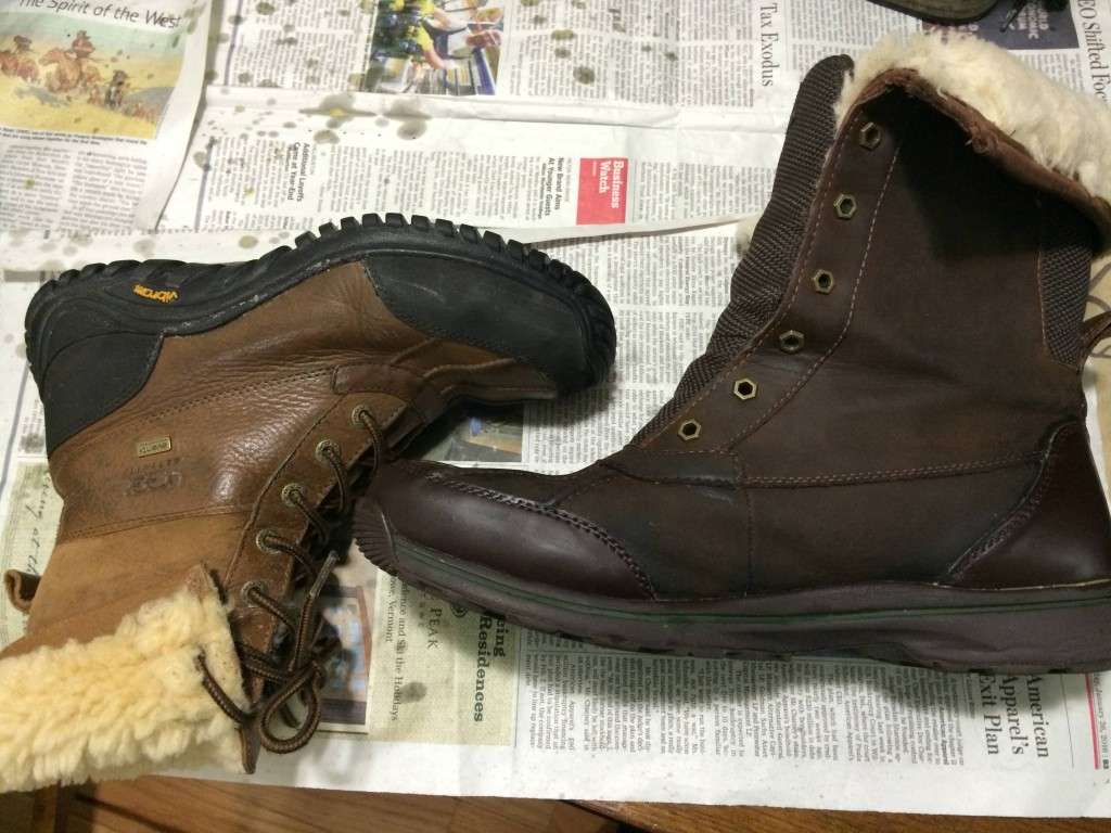 Here's a comparison of the newly waxed boot to one I waxed a month ago or so. Interestingly, they started out as the same color, but for some reason, the color didn't change at all with the women's boot during waxing, but turned into a chocolate brown for the men's boot. Maybe they had been treated with something different during manufacture? Either way, I'm pretty happy with how they both look IRL, and our feet don't get wet anymore!