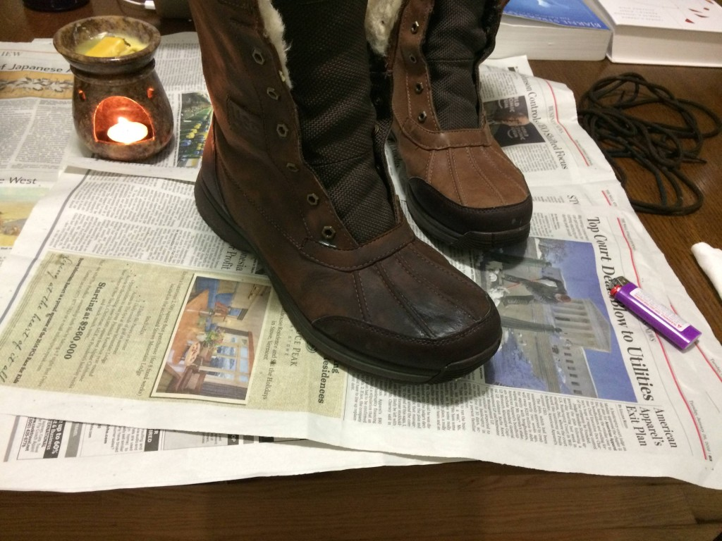 Here's one finished boot next to the other. Sometimes lighter color boots can change color as the absorb the wax, and this one turned from a light brown to a chocolate brown. I was willing to take the risk though, and I kind of like the new color better.