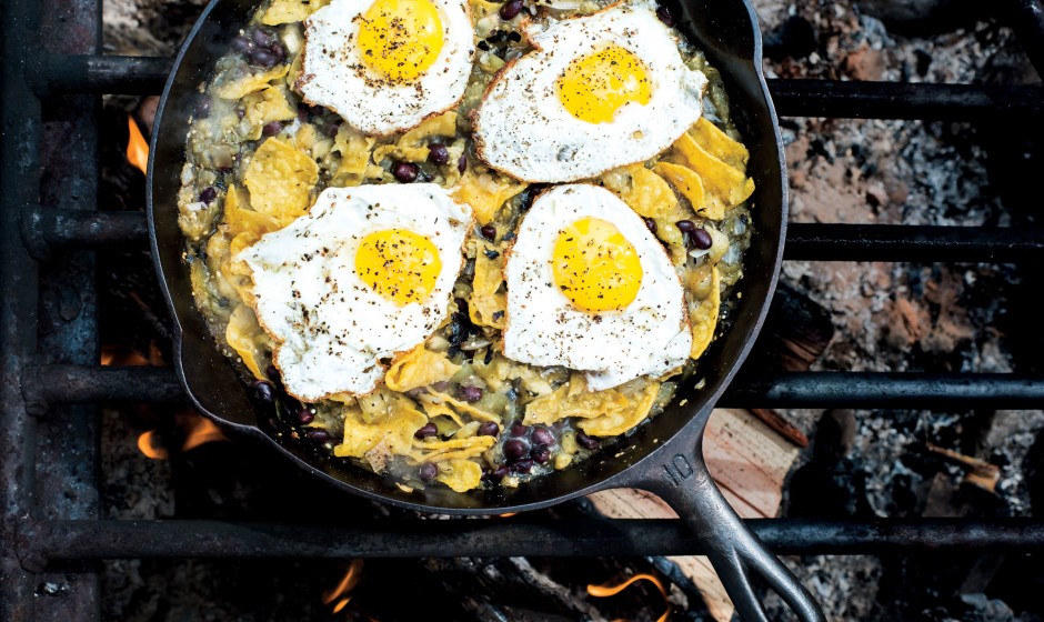 Chilaquiles with Blistered Tomatillo Salsa and Eggs source