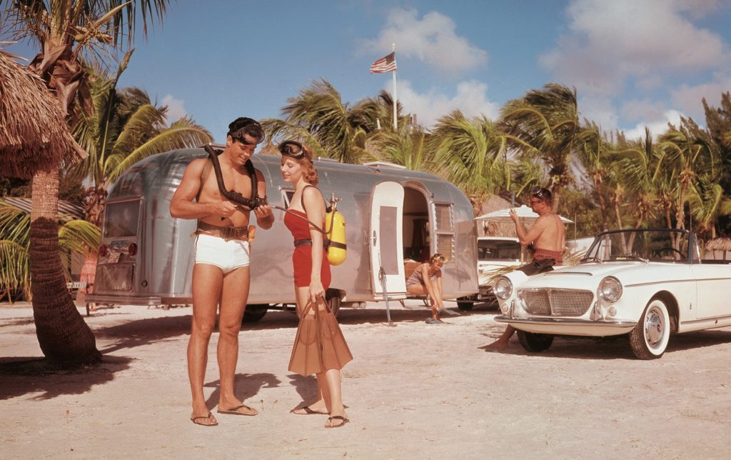 A quick trip to Florida was always easy for those that didn't have much time to travel. Airstreams allowed you to park your trailer right on the beach, being constantly surrounded by sand, palm trees, and warm breeze.