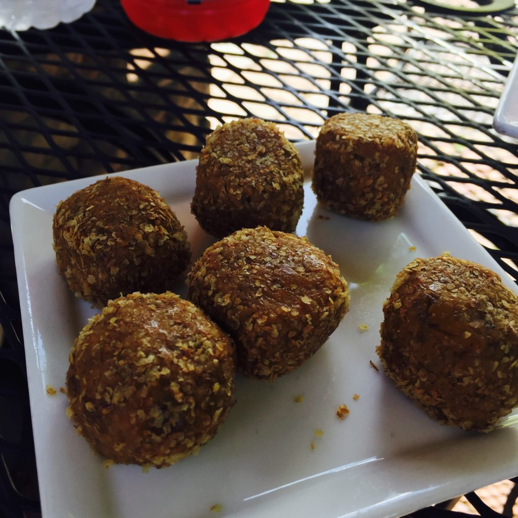 The infamous peanut butter balls at the Bike Stop Cafe. They're GREAT. I tried everything short of a headlock to get the recipe from Jodi and she wouldn't budge. Sorry. You'll have to get there and eat one.