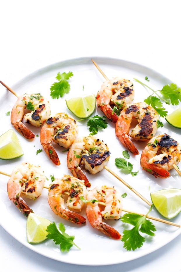 Click here to see Little Spice Jar's recipe for Grilled Cilantro Lime Shrimp Kebabs</a
