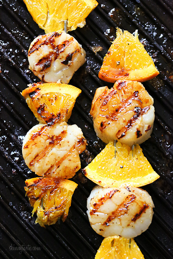 Click here to see Skinnytaste's recipe for Grilled Scallops and Orange Kebabs</a