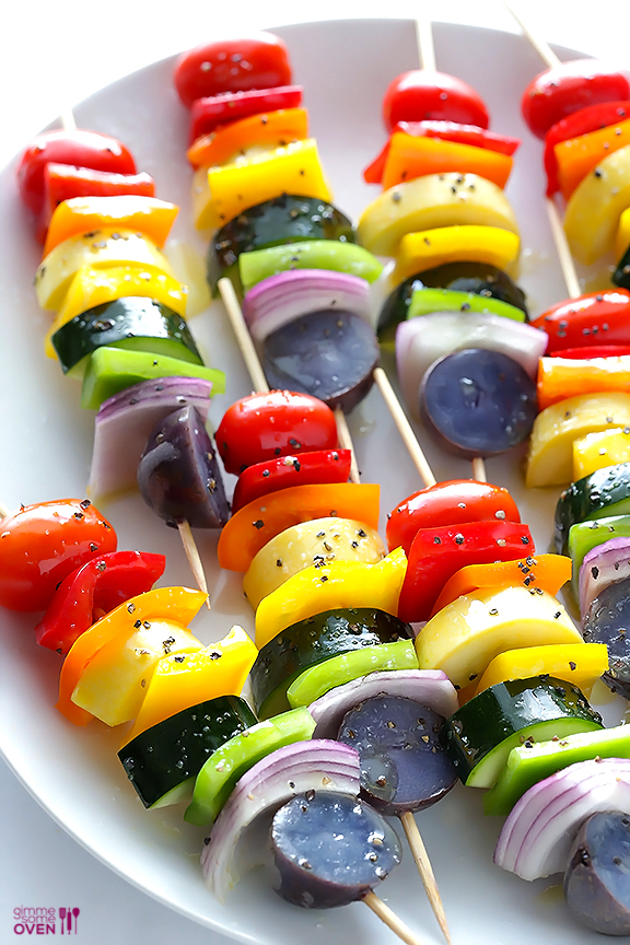 Click here to see Gimme Some Oven's recipe for Rainbow Veggie Kebabs</a