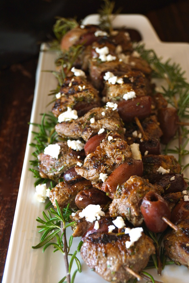 Click here to see Cooking on the Weekends' recipe for Rosemary Lamb Olive Kebabs</a