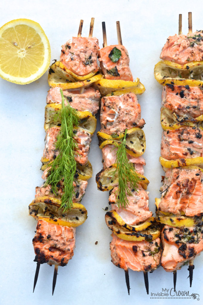 Click here to see My Invisible Crown's recipe for Grilled Salmon Kebabs</a