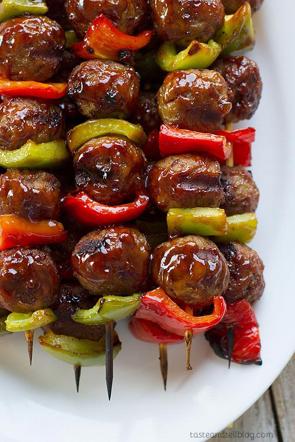 Click here to see Taste and Tell's recipe for Sweet and Sour Meatball Skewers</a