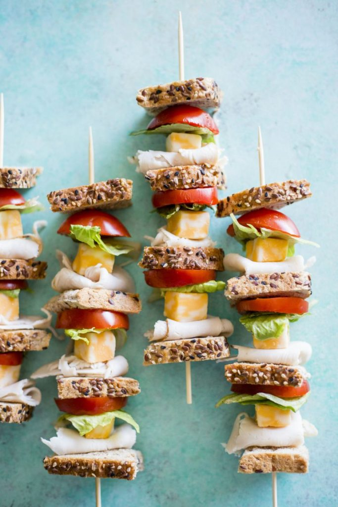 Click here to see The Almond Eater's recipe for Turkey Sandwich Skewers</a