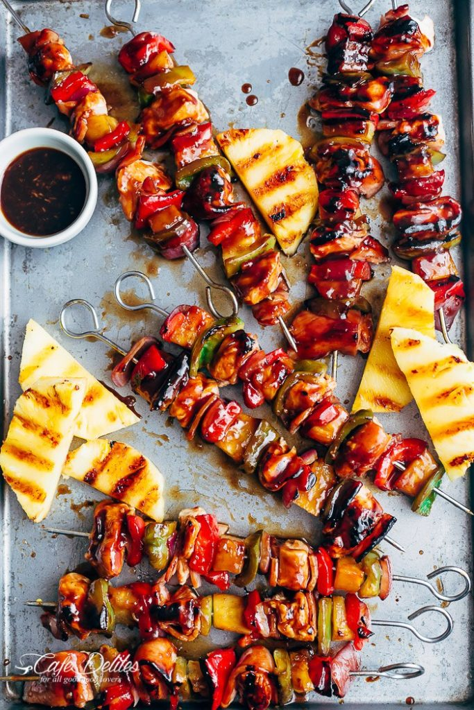 Click here to see Cafe Delites' recipe for Hawaiian Chicken Bacon Pineapple Kebabs</a