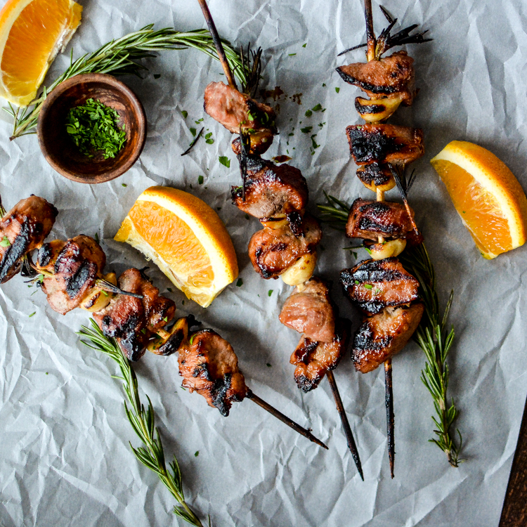 Click here to see Cooking and Beer's recipe for Apricot and Orange Pork Skewers</a