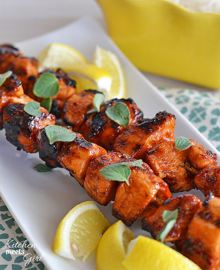 Click here to see Kitchen Meets Girl's recipe for Sriracha-Glazed Chicken Kebabs</a