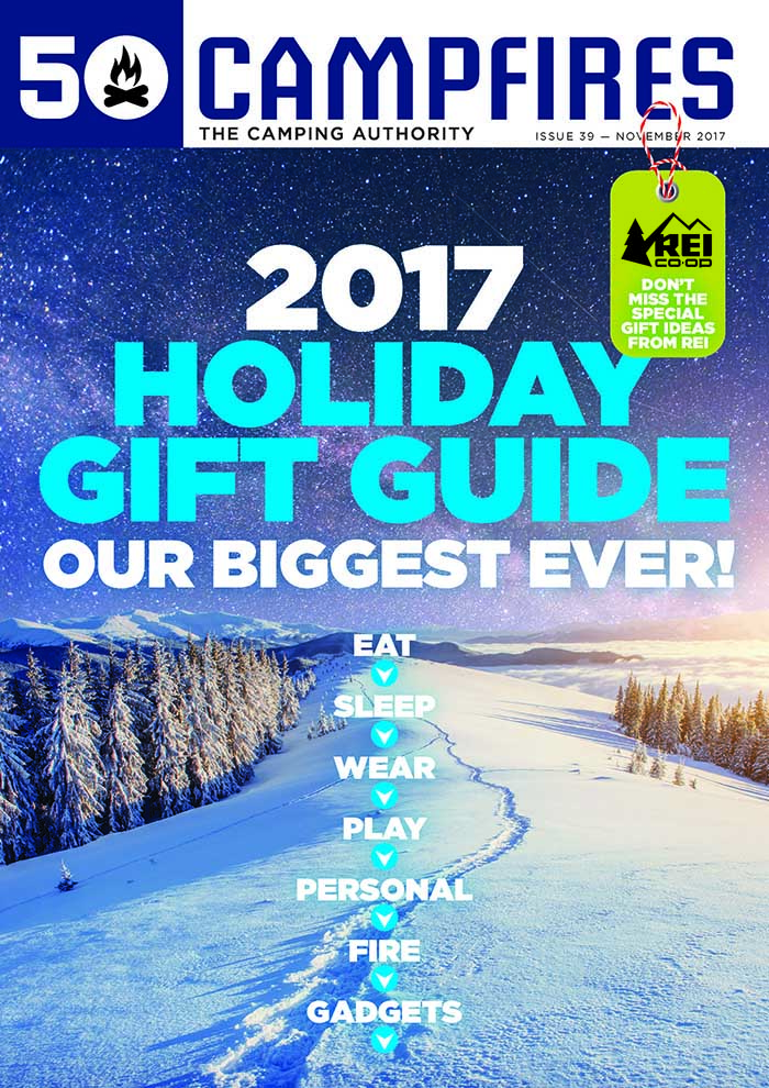 cover of 50 Campfires Holiday Gift Guide November 2017