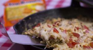 Top Ramen Italian Scramble Recipe made in cast iron skillet photo