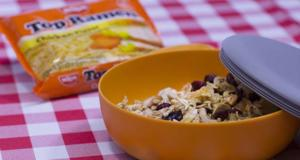This delicious trail mix begins with raw and toasted Top Ramen noodles as its base.