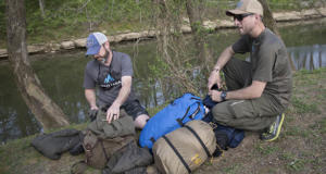 Clint and Nick sort and pack gear for 50 Campfires Field Trip: Bourbon Trail in Kentucky.
