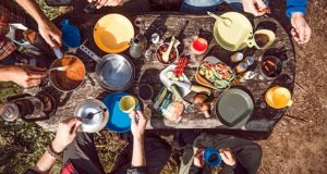A beautiful picnic table top filled with modern ideas about picnicking.
