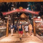 """""""Welcome to Paradise"""" sign greets guests at the Bass Pro Shops at the Pyramid in Memphis, Tennessee."""