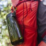 LifeStraw GO Bottle hanging from pack during the 50 Campfires Field Trip: Great River Road.