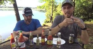 Clint and Nick set up to taste a variety of hot sauce brands collected during the Field Trip Great River Road.