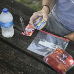 Inexpensive hotdogs, a zipper top bag, minced garlic, red Kool-Aid (cherry or strawberry) and water are the ingredients to make red hotdog catfish bait on the Field Trip: Great River Road.