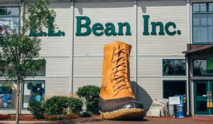 Iconic giant Bean Boot at the entrance to the 100 year old flagship L.L. Bean Store in Freeport, Maine.